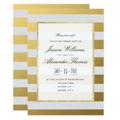 The 25 best wedding anniversary invitations ideas on pinterest stylish gold white stripes 1st wedding anniversary card stopboris Images