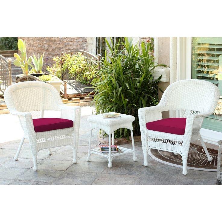 Jeco 3-piece White Wicker Bistro Set, Patio Furniture