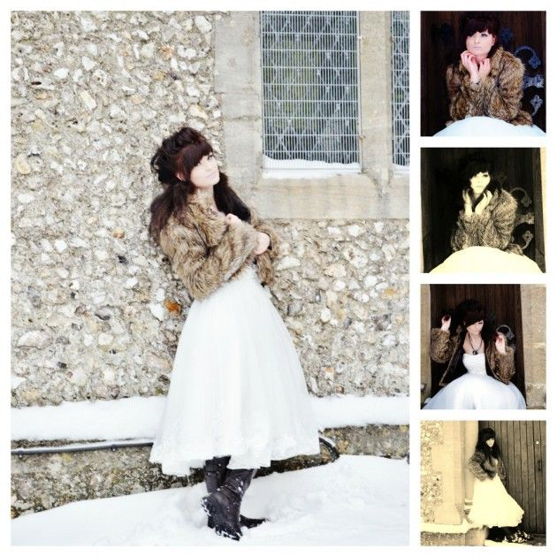 Wedding Dress with boots in the snow