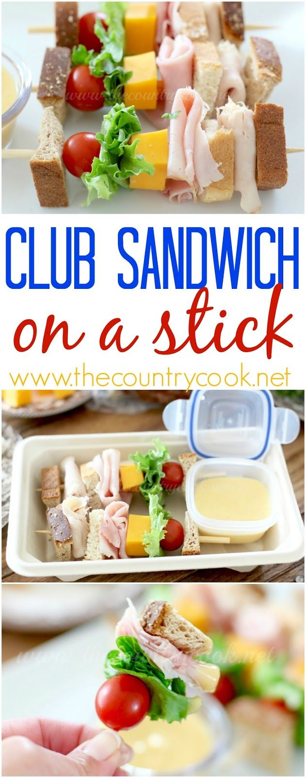 Club Sandwich on a Stick recipe from The Country Cook. Perfect for back-to-school lunches for kids (and grown-ups too!) And - Butterball now has Deli Ham! So, so good! #ad                                                                                                                                                                                 Más
