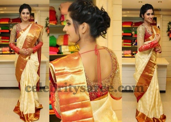 Shamili in Full Sleeves Shimmer Blouse | Saree Blouse Patterns