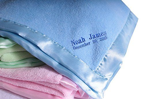 Personalized Customized Baby Blanket Wide Satin Trim Light Blue -- You can get more details by clicking on the image.-It is an affiliate link to Amazon.