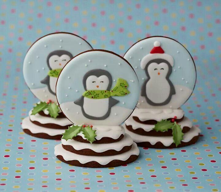 Penguin snow globe cookies