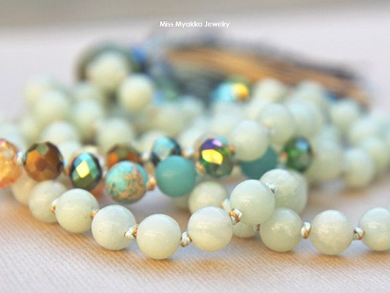 Mala, Knotted Mala, Necklace, Meditation, Prayer,  Yoga, 8mm, Healing, Amazonite, Stress, Balance, Absorbs microwaves, Gemstones
