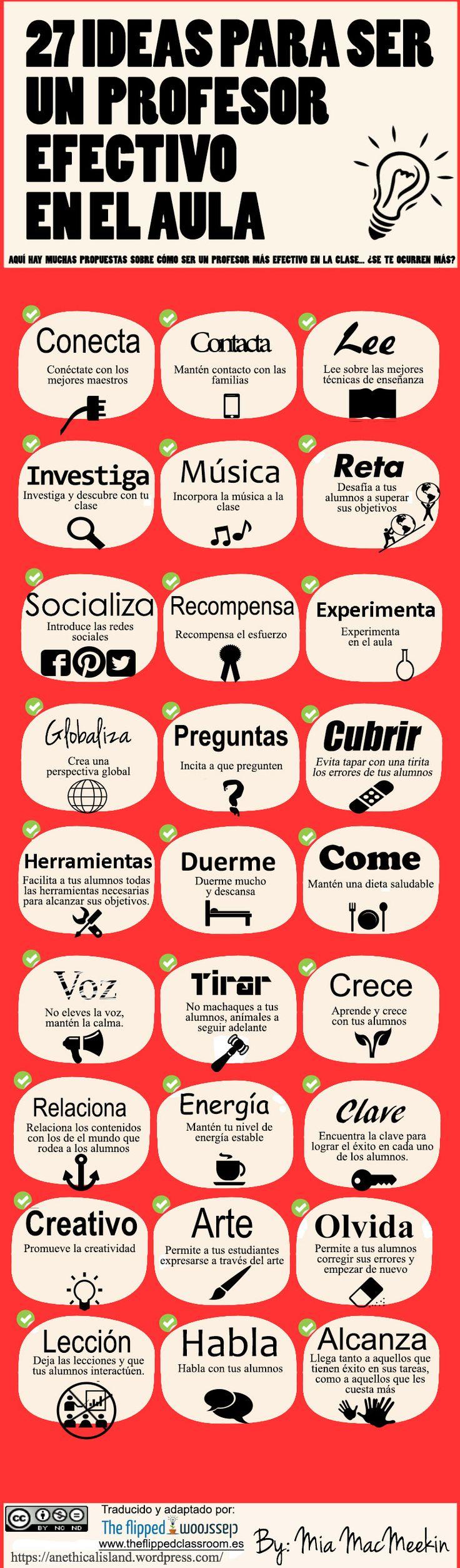 Hola: Una infografía con 27 ideas para ser un profesor efectivo en el aula. Vía Un saludo