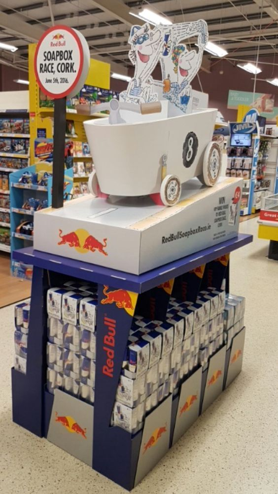 Temporary POS Design - Instore Theatre - Red Bull Soap Box Racing - Cardboard…