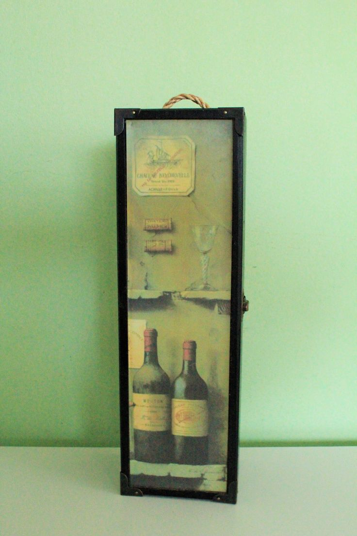 Vintage Wooden Empty Wine Bottle Box Carrier Chateau Beychevelle Case Storage Wine Caddy by Grandchildattic on Etsy
