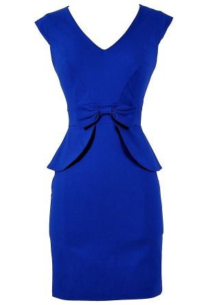 royal blue, peplum, and a bow--- why don't I already own this? Perfect dress for a semi formal function, wedding, work, or a date night! :: Vintage Fashion:: Retro Style:: Pin Up Fashion