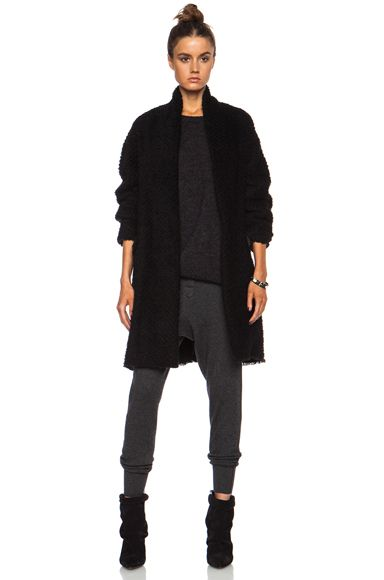 Isabel Marant Gabriel Herringbone Wool-Blend Coat in Black | FWRD