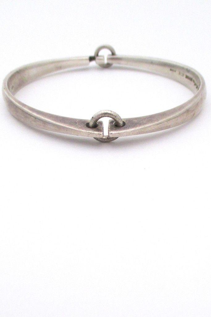 Hans Hansen, Denmark - vintage modernist silver hinged bracelet #bracelet #Denmark