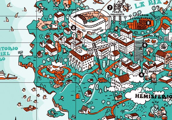 An illustrative map of Bilbao, Spain