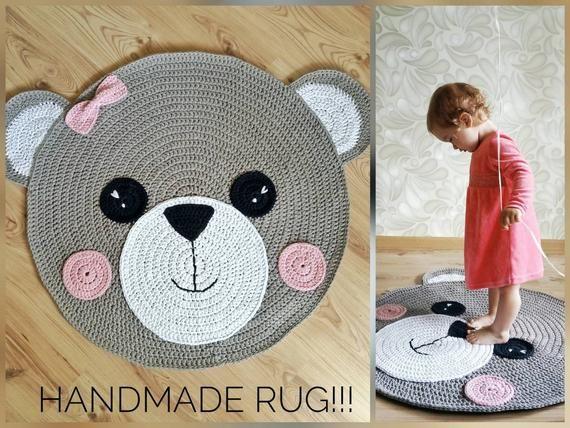 Crochet Rug Bear Rug Children Carpet Handmade Rug Etsy Crochet Rug Bear Rug Crochet Bear Patterns