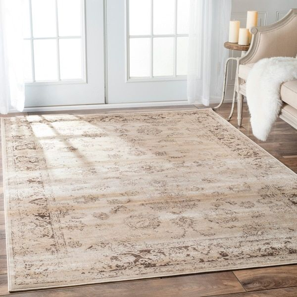 Nuloom Tiffany Persian Vintage Viscose Ivory Area Rug 7 8 X 9 6 Brown Synthetic Border