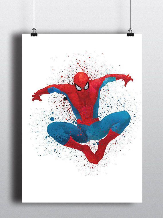 Spiderman Poster Print   Watercolour   A2 Size-Resizable   Printable   Digital Download   Superhero   Marvel   Minimalist