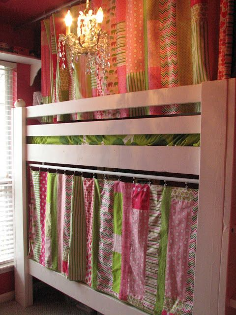 Obviously looking at the curtain idea not the colors for my boys room. Curtains on Bunk Bed for little alcoves