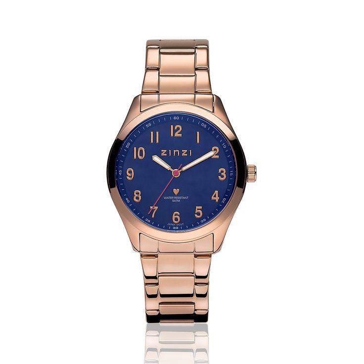 Zinzi horloge donkerblauwe wijzerplaat stalen band roségouden kleur ZIW207