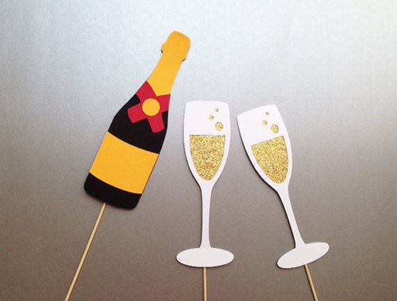 Champagne Toasting Set Wedding Photo Booth Prop Holiday Photo Booth Props Set of 3