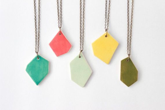 Geometric Necklace Ceramic Necklace Gifts for by @quietclementine via @Etsy