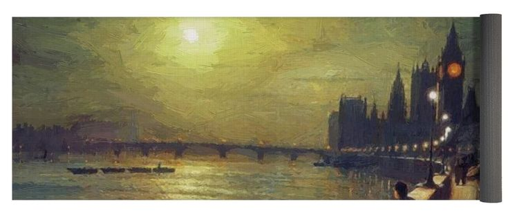 Reflections Yoga Mat featuring the painting Reflections On The Thames Westminster 1880 by Grimshaw John Atkinson
