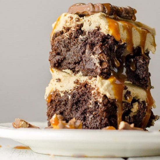 Kitchen Brownies: fudgy brownies with peanut butter bourbon frosting ...