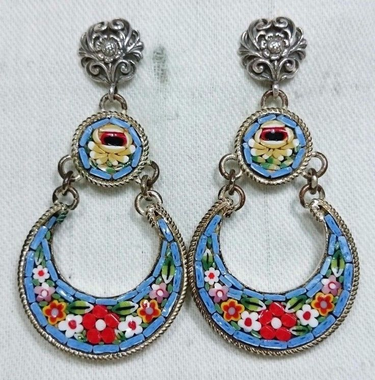 Blue Micro Mosaic Earrings, Silver Filigree, Grand Tour