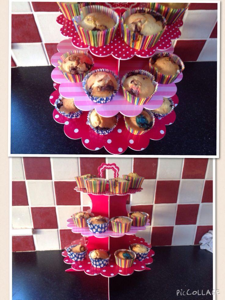 Chocolate chip, peanut m&m's vanilla cupcakes