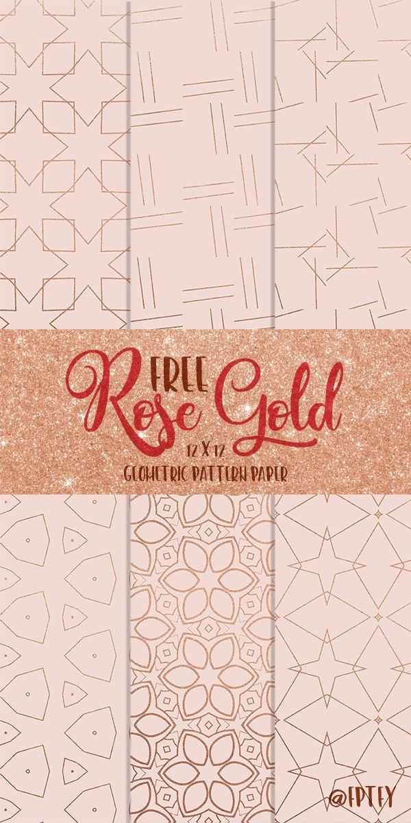 Free Rose Gold Geometric Digital Papers
