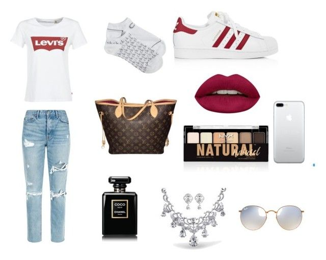 """""""Levi's casual"""" by isagarcia18 on Polyvore featuring moda, Levi's, GRLFRND, Calvin Klein, adidas, Louis Vuitton, Huda Beauty, Chanel, NYX y Ray-Ban"""