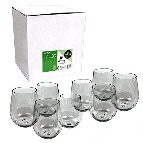 Unbreakable Wine Glasses - 100% Tritan - Shatterproof, Reusable, Dishwasher Safe (Set of 8 Stemless) by D'Eco, http://www.amazon.com/dp/B00EED5A9U/ref=cm_sw_r_pi_awdm_Ltd3wbQR4ETVX