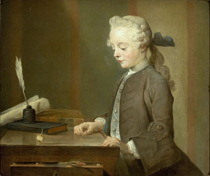 """Retrato de Auguste Gabriel Godefroy"". 'Boy with a Top'. (c.1735). (by Jean-Baptiste-Siméon Chardin)."