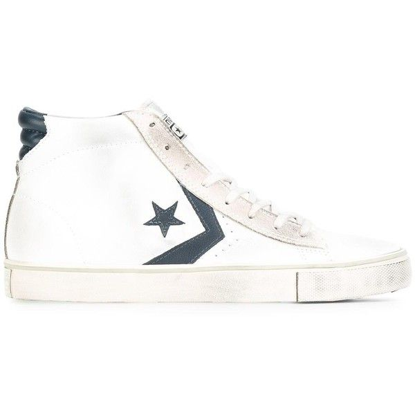 Converse 'Pro Leather Vulc Mid' sneakers ($120) ❤ liked on Polyvore featuring men's fashion, men's shoes, men's sneakers, white, mens white leather sneakers, converse mens sneakers, mens leather shoes, mens leather sneakers and mens white shoes