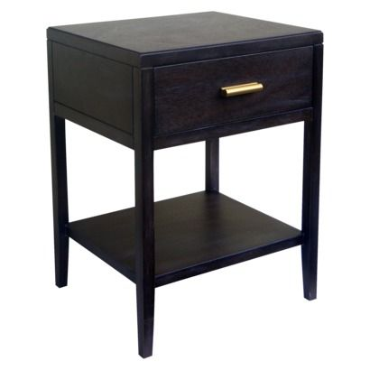 Nightstand 3 threshold black wood accent table with gold for Black wood nightstand