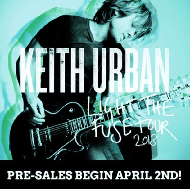 Tickets for @Keith Savoie Urban  Light The Fuse Tour 2013 Pre-Sale starts on April 2nd! If you are not a member of The 'Ville, join here: www.KeithUrban.net/Login