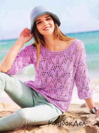 Ажурный пуловер и шляпка