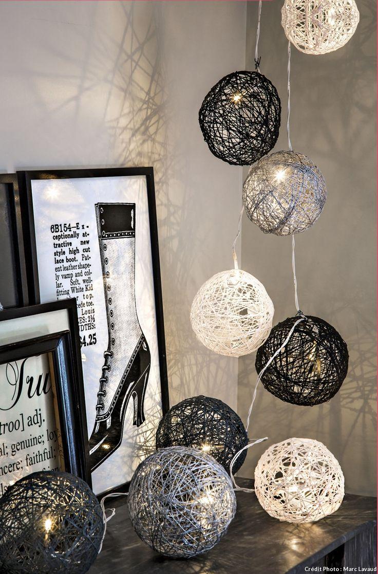 Les boules de Noël en fil de coton deviennent guirlande électrique