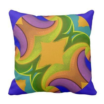 Stained Glass on Gold/Green/Purple/Blue/Orange Throw Pillow - blue gifts style giftidea diy cyo