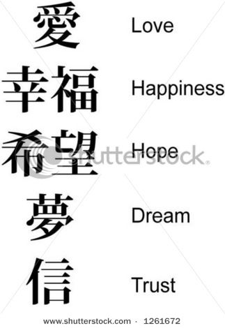 peace love happiness in chinese writing and meanings