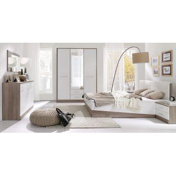 Set Dormitor Liverpool complet Setul este format din: pat, 2 x noptiera cu sertare, comoda cu sertare si oglinda