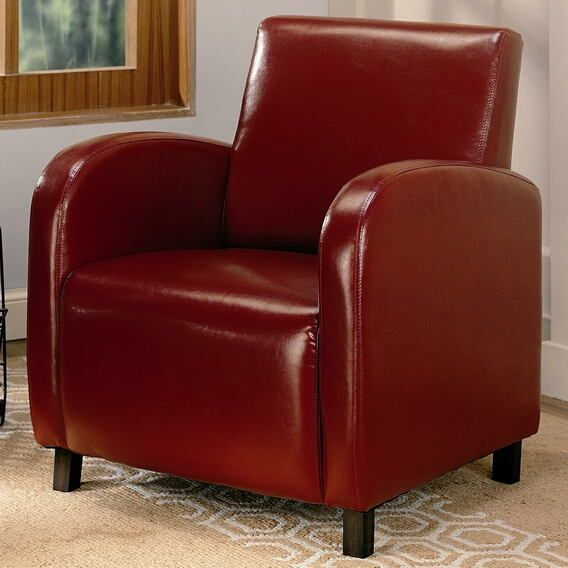 900335 Red Leather Like Vinyl Accent Chair With Images