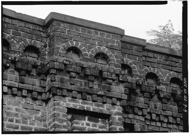 5.  Detail of corbaled arch parapet. - Central of Georgia Railway, 1853 Brick Arch Viaduct, Spanning West Boundary Street & Savannah-Ogeeche...