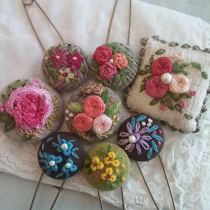 "380 Likes, 8 Comments - mimi ~  (@lmrblue) on Instagram: ""#Embroidery#stitch#needlework  #프랑스자수#일산프랑스자수#자수 #예쁜 자수핀으로 멋내기~"""