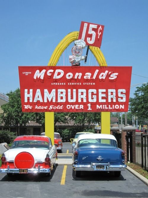 Retro McDonalds photo. When I was a child the city got its first McDonald's.  Family regularly went to get 15 cent hamburgers, 19 cent cheeseburgers. 10 cent pop.