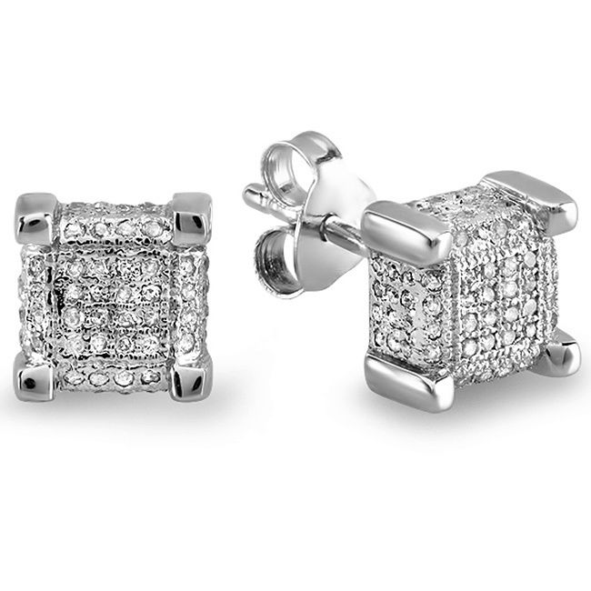 These Stud Earrings For Men Feature Dice Shapes Adorned With Round Cut White Diamonds In Pave Settings Back Clasps Ensure Secure Wear Jewelry
