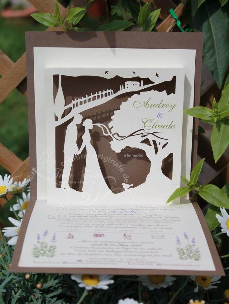 """Faire-part de mariage kirigami / thème """"Provence"""""""