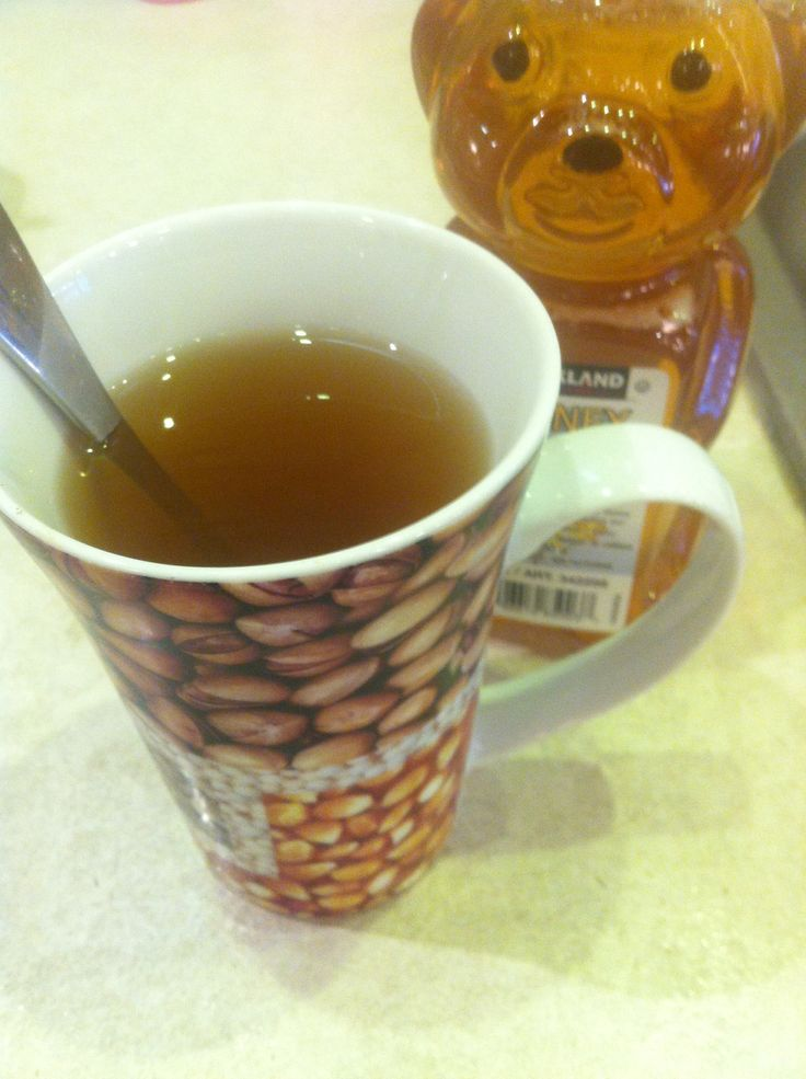 Starting off my day with lemon tea and money the clean out my stomach :)