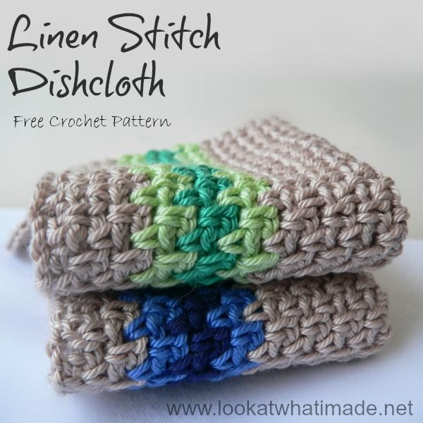 Crochet Linen Stitch Dishcloth - Look At What I Made Tutorial ✿⊱╮Teresa Restegui http://www.pinterest.com/teretegui/✿⊱╮