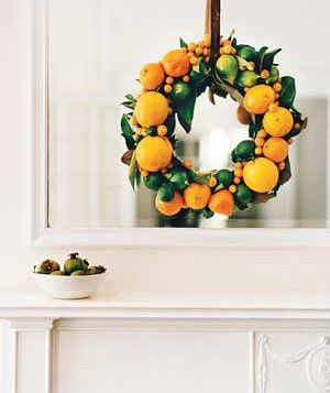 Citrus fruits make for a festive, yet unexpected, wreath.