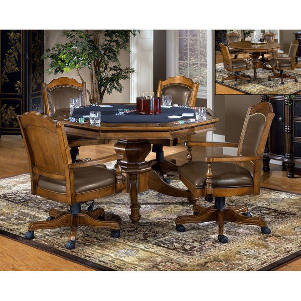 Game Table and Chairs Blackjack Octagon Poker Table Home Elegance Furniture  #idh #AntiqueStyle