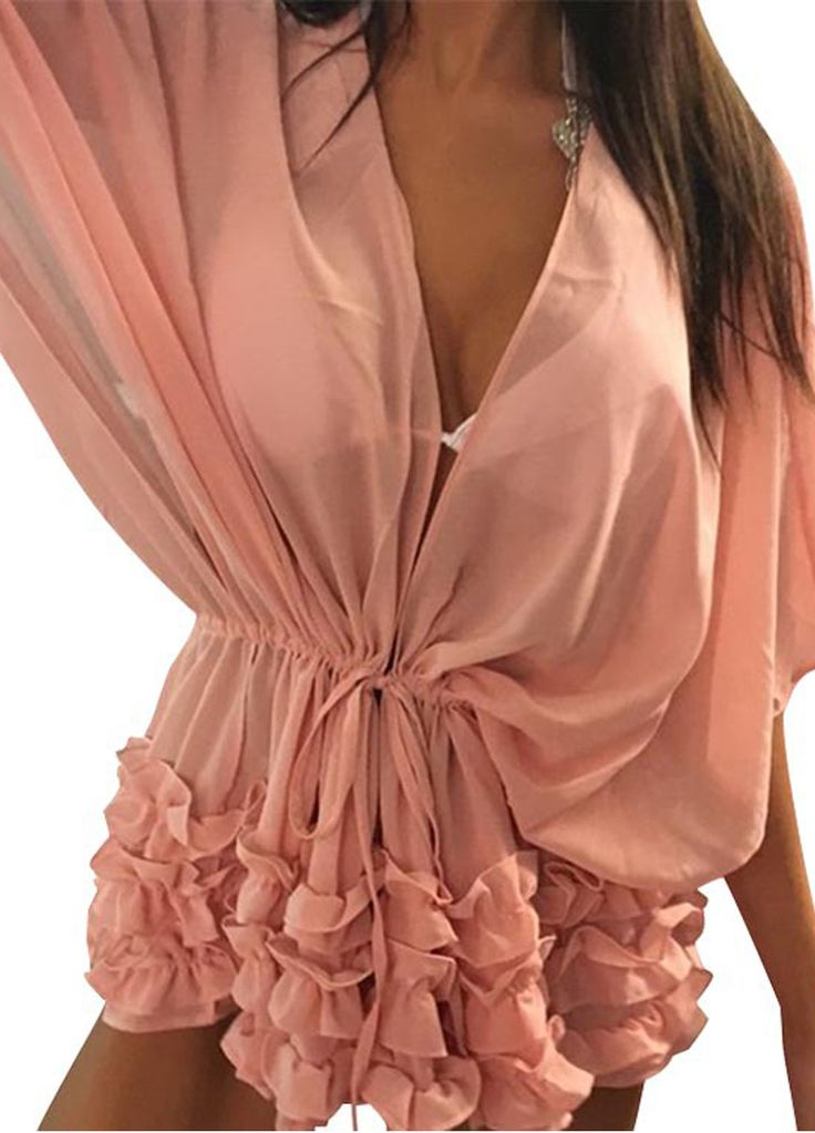 Batwing Sleeve Self-Tie Plunging V Swimsuit Cover-up_Beach Dress_Swimwears_Sexy Lingeire | Cheap Plus Size Lingerie At Wholesale Price | Feelovely.com