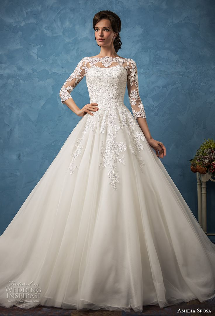 Exelent Modest Wedding Dresses With 3 4 Sleeves Ideas - Wedding ...